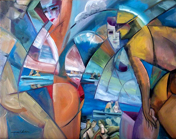 Bathers with Boats- Oil on Canvas by Louis Miller