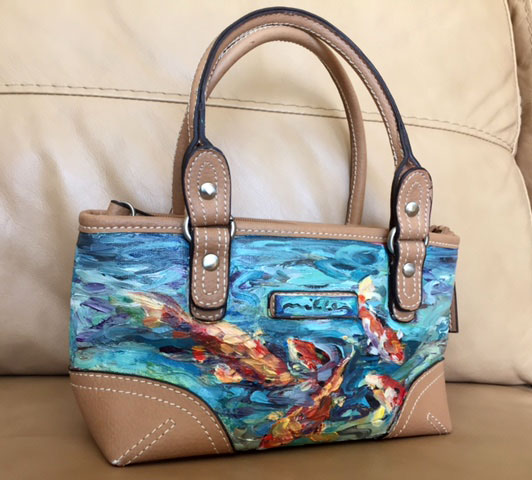 Hand painted Oil on Canvas Handbag
