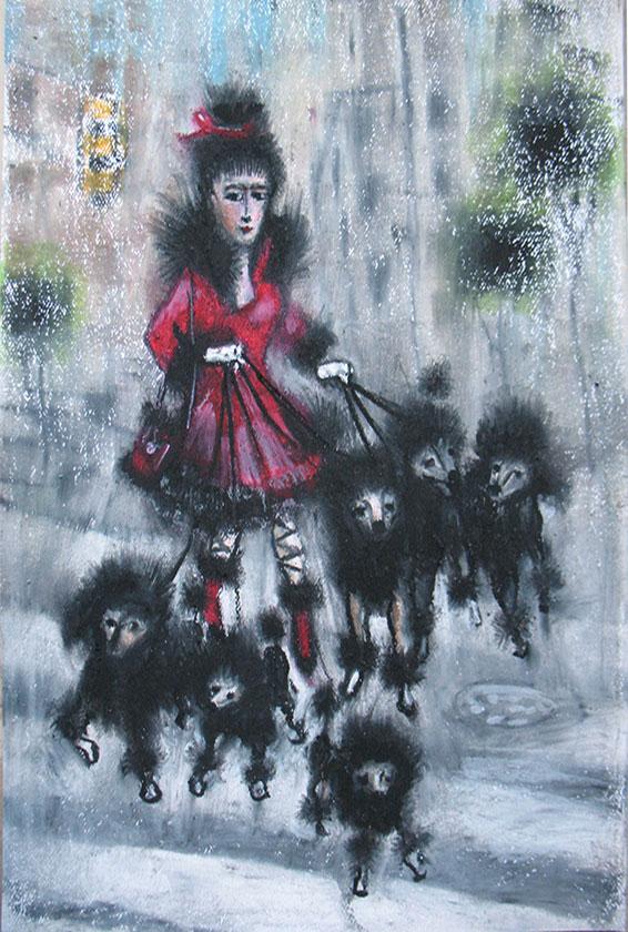 Poodle Walker, Oil Pastel
