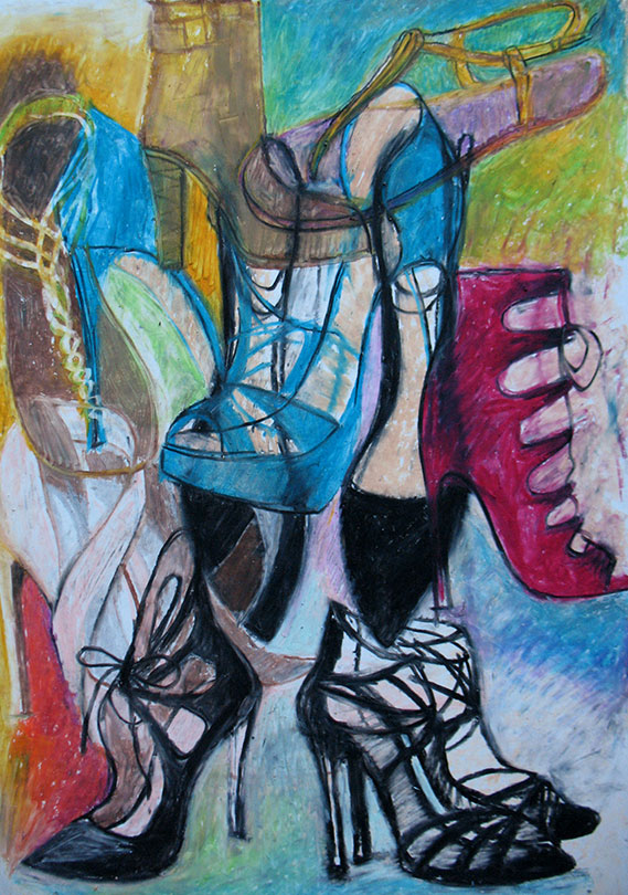 Shoes in Composition, Oil Pastel