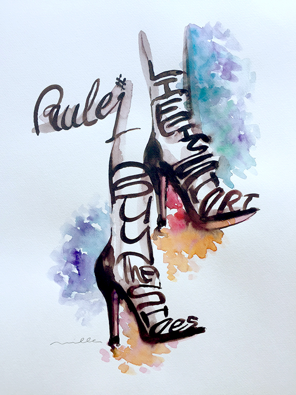 Rule #1 Life is Short Buy the Shoes 11x14 Watercolor by Louis Miller