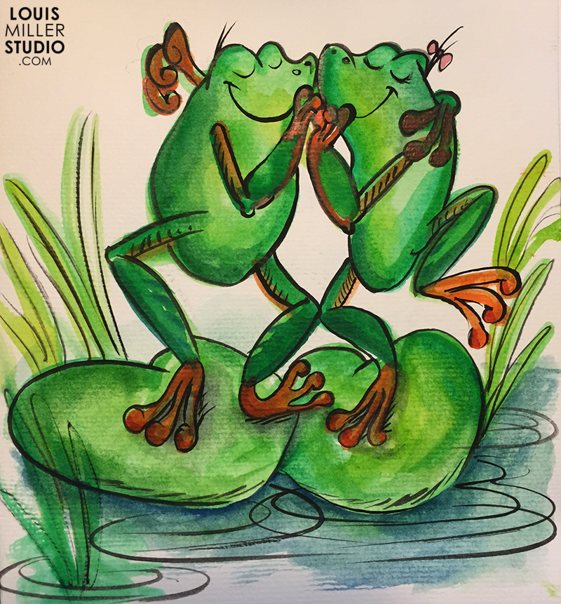 Two frogs dancing